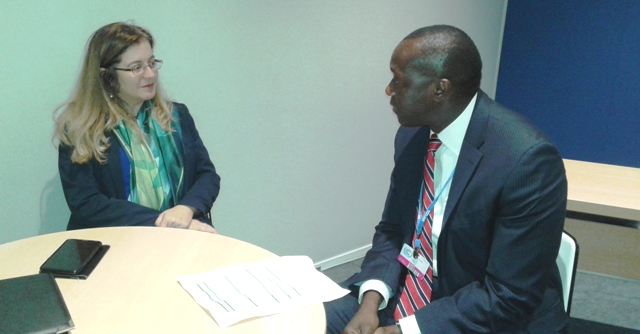 On The Side Lines of The Paris Climate Change Conference - Min. Konneh Holds Talks With Green Climate Fund Executive Director